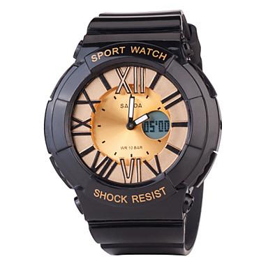 남성용 손목 시계 태양 에너지 캐쥬얼 시계 고무 밴드 블랙 화이트 멀티컬러
