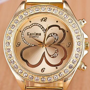 여성용 패션 시계 모조 다이아몬드 시계 석영 캐쥬얼 시계 합금 밴드 골드