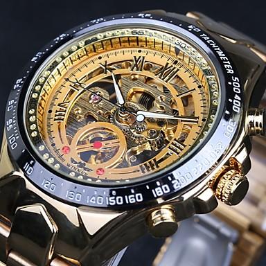 975ae80b1cf WINNER Homens Relógio Esqueleto Relógio de Pulso relógio mecânico  Automático - da corda automáticamente Aço Inoxidável