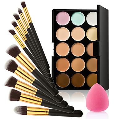 컨실러 파운데이션 블러셔 15 색 윤곽 얼굴 크림 메이크업 컨실러 팔레트 + 스폰지 퍼프 파우더 브러쉬