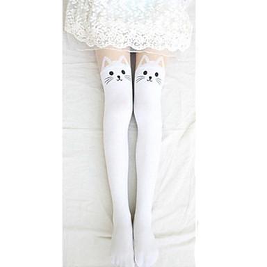 79300c3ed Women s Lolita Socks   Long Stockings Thigh High Socks Lolita White Black  Print Cat Lolita Accessories   High Elasticity  00713746