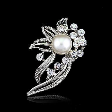 levne Další šperky-Dámské Bílá Křišťál Perla Brože Kytky dámy Umělecké a retro Vintage Módní Pro matku Napodobenina perel Pryskyřice Štras Brož Šperky Stříbrná Pro Svatební Párty Narozeniny Zásnuby Dar Denní