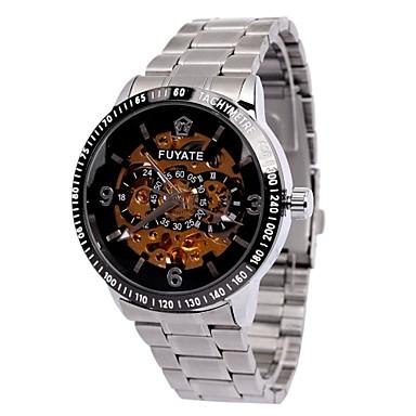 Férfi Karóra mechanikus Watch Automatikus önfelhúzós Üreges gravírozás ötvözet Zenekar Ezüst Ezüst