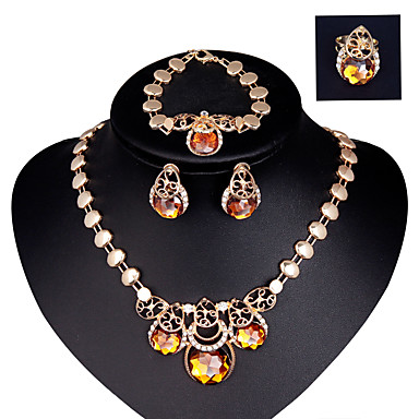Vintage / Party-Nő-Nyaklánc / Fülbevaló / Karkötő / Gyűrű(Aranyozott / Ötvözet / Stassz / Drágakő és kristály)