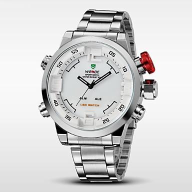 WEIDE Homens Relogio digital / Relógio de Pulso Alarme / Calendário / Cronógrafo Aço Inoxidável Banda Amuleto Preta / Prata