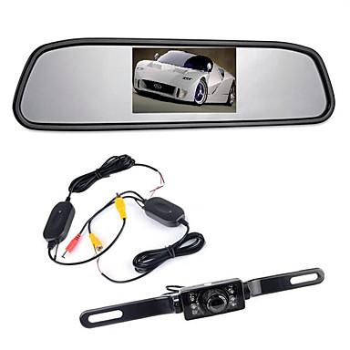 "billige Bil Bakspejl Kamera-4,3"" Tft LCD-Skærm Bakkamera Trådløs 170 ° Backup Omvendt Kamera Kit Nattesyn"