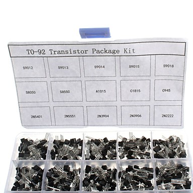 750pcs 15kindsx50pcs to-92 tranzisztor kit + retail box (a1015, c945, c1815, s8050, s9012,2n2222 ...)