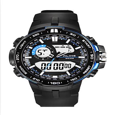 남성 스포츠 시계 손목 시계 LED 달력 크로노그래프 방수 듀얼 타임 존 경보 석영 PU 밴드 블랙