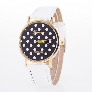 여성용 석영 손목 시계 캐쥬얼 시계 가죽 밴드 도트 패션 블랙 블루 오렌지 브라운 핑크 퍼플 로즈
