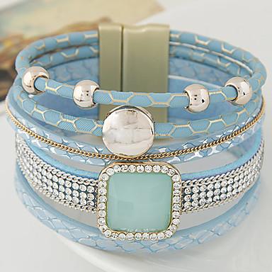 Многослойность Кожаные браслеты - Кожа Для вечеринки, Для офиса, На каждый день Браслеты Черный / Синий / Розовый Назначение Новогодние подарки