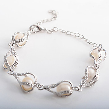 Women's Pearl Charm Bracelet - Drop Silver Bracelet For Christmas Gifts Wedding