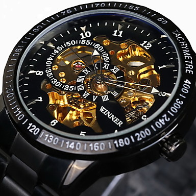 WINNER Men's Automatic self-winding Mechanical Watch / Wrist Watch Water Resistant / Water Proof / Hollow Engraving / Tachymeter / Cool /