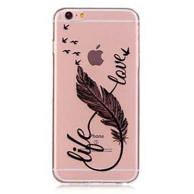voordelige iPhone 6 hoesjes-hoesje Voor Apple iPhone 6s Plus / iPhone 6s / iPhone 6 Plus Transparant / Patroon Achterkant Veren Zacht TPU
