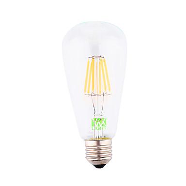 E26/E27 LED필라멘트 전구 ST64 6 LED가 COB 장식 따뜻한 화이트 500-600lm 2800-3200K AC 85-265 AC 220-240 AC 110-130V