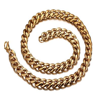 billige Mode Halskæde-Herre Dame Kort halskæde Titanium Stål 18K Guld Personaliseret Afslappet Europæisk Mode Gylden Halskæder Smykker Til Daglig Afslappet
