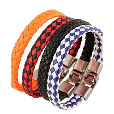 voordelige Heren Armband-Heren Lederen armbanden Uniek ontwerp Modieus Leder Armband sieraden Wit / Zwart / Zwart / Rood Voor Kerstcadeaus Feest Dagelijks Causaal Sport