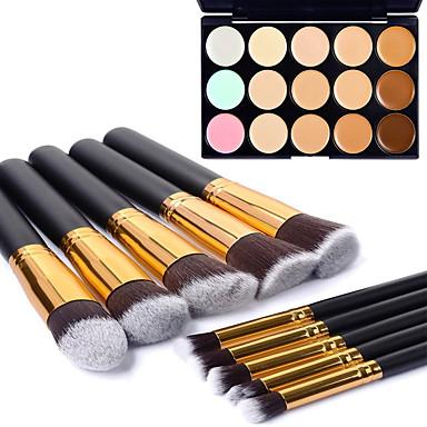 10st professionele goud buis zwart handvat cosmetische make-up borstel set en 15 kleuren gezicht contour concealer