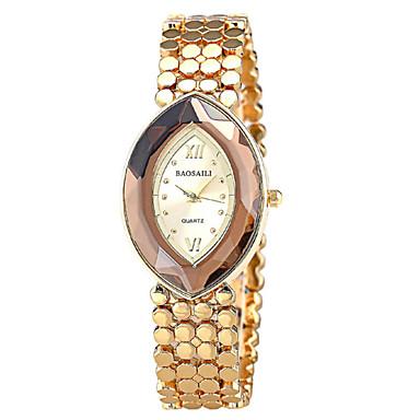여성용 패션 시계 팔찌 시계 석영 캐쥬얼 시계 합금 밴드 우아한 그레이 골드