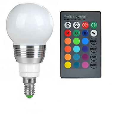 100-200 lm E14 LED 글로브 전구 A50 1 LED 비즈 고성능 LED 리모컨 작동 RGB 85-265 V / 1개