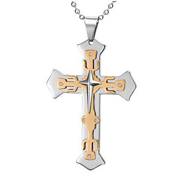 Férfi Nyaklánc medálok Függők Cross Shape Titanium Acél Hamis gyémánt Križ Divat Többrétegű luxus ékszer Személyre szabott Ékszerek