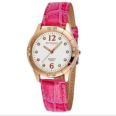 SYNOKE 여성용 패션 시계 모조 다이아몬드 시계 석영 일본 쿼츠 캐쥬얼 시계 가죽 밴드 레드 핑크 퍼플