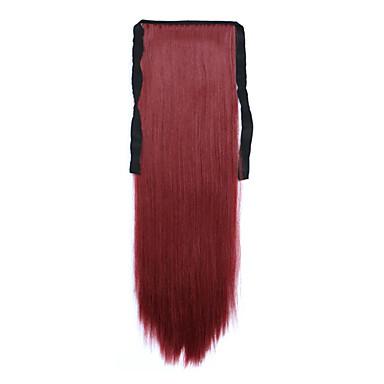 빨간색 길이 60cm 합성 바인드 유형 긴 직선 머리 가발 말꼬리 (컬러 118)