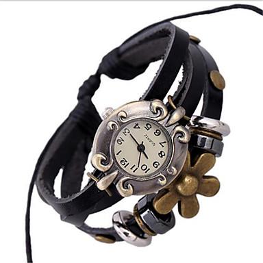 아가씨들 패션 시계 팔찌 시계 디지털 가죽 밴드 보헤미안 블랙