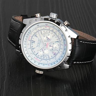 Pánské Náramkové hodinky mechanické hodinky Letecké hodinky Automatické natahování Kůže Černá Kalendář Analogové Luxus Klasické - Bílá Tmavomodrá / Nerez