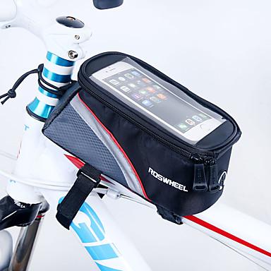 ROSWHEEL 자전거 프레임 백 휴대 전화 가방 4.2 인치 방수 지퍼 착용 가능한 방습 충격방지 터치 스크린 싸이클링 용 iPhone SE/5s/5