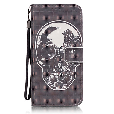 Mert Samsung Galaxy S7 Edge Pénztárca / Kártyatartó / Állvánnyal / Flip / Minta Case Teljes védelem Case Koponya Puha Műbőr SamsungS7