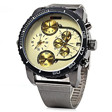 Недорогие Часы на металлическом ремешке-Муж. Армейские часы Кварцевый Нержавеющая сталь Серебристый металл Календарь С двумя часовыми поясами Cool Аналоговый Белый Черный Один год Срок службы батареи / SSUO LR626