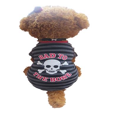 Σκύλος Φανέλα Ρούχα για σκύλους Αναπνέει Ριγέ Νεκροκεφαλές Γκρι/Κόκκινο Στολές Για κατοικίδια