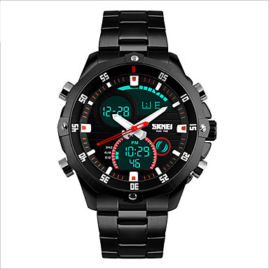 SKMEI 남성용 스포츠 시계 방수 / LED / 캐쥬얼 시계 스테인레스 스틸 밴드 참 블랙 / 실버 / 2 년 / Maxell CR2016