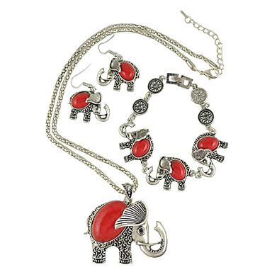 Női Divat Bohemia stílus Vésett Európai Folk stílus jelmez ékszerek Türkiz Flower Shape Animal Shape Elefánt Nyakláncok Naušnice Karkötő
