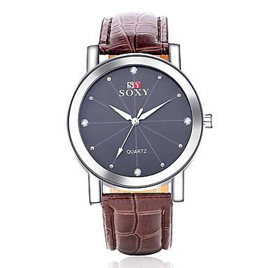 남성용 석영 스포츠 시계 멋진 / 캐쥬얼 시계 가죽 밴드 패션 블랙 / 브라운