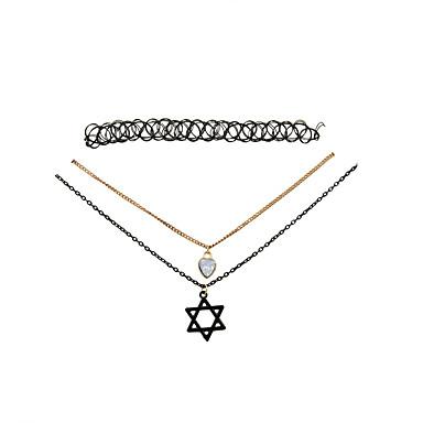 Női Rövid nyakláncok Nyaklánc medálok Gyanta Arannyal bevont Ötvözet Heart Shape Star Shape Divat Régies (Vintage) Állítható Imádni való