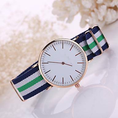 남성용 패션 시계 석영 캐쥬얼 시계 섬유 밴드 블랙 화이트 블루 레드