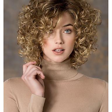 Vrouw Synthetische pruiken Zonder kap Kort Krullend Blond Zijdeel Natuurlijke pruik Kostuumpruiken