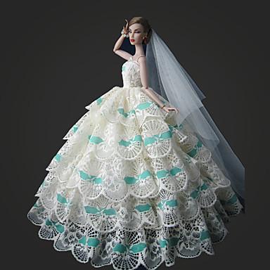 Esküvő Ruhák mert Barbie baba Csipke Szatén Ruha mert Lány Doll Toy