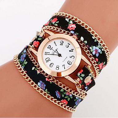 여성용 손목 시계 팔찌 시계 패션 시계 석영 / 캐쥬얼 시계 가죽 밴드 꽃 보헤미안 블랙 화이트 블루 그린