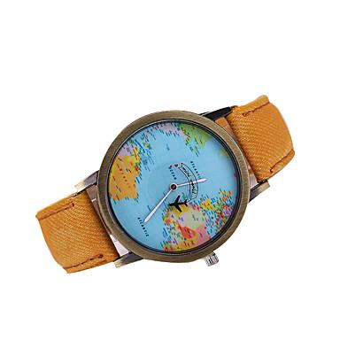 Муж. Кварцевый Японский кварц Нарядные часы World Map Pattern Повседневные часы Кожа Группа Кулоны Черный Белый Коричневый Разноцветный