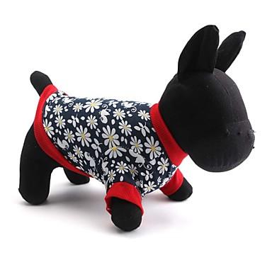 고양이 / 개 티셔츠 레드 강아지 의류 모든계절/가을 꽃 / 식물 패션