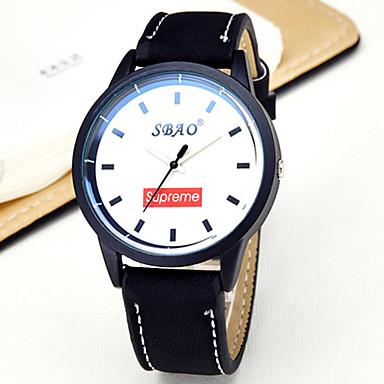 남성용 패션 시계 석영 캐쥬얼 시계 PU 밴드 줄무늬 블랙