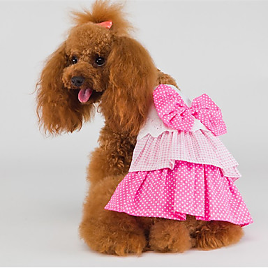 고양이 강아지 드레스 강아지 의류 생일 핑크 코스츔 애완 동물