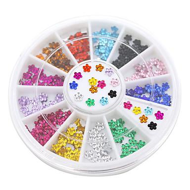 12 색 네일 아트 크리스탈 반짝이 라인 스톤 꽃 매니큐어 휠 스터드