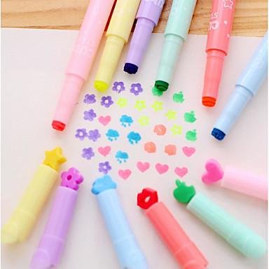 마커 & 하이 라이터 펜 하이 라이터 펜,플라스틱 통 레드 블루 옐로우 퍼플 그린 잉크 색상 For 학용품 사무용품 팩
