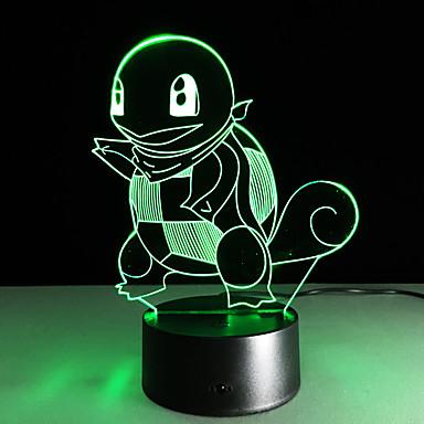1 szt. 3D Nightlight USB Wielokoloroe Szkło ABS 1 Light Nie zawiera baterii 22.5*17.0*4.5cm