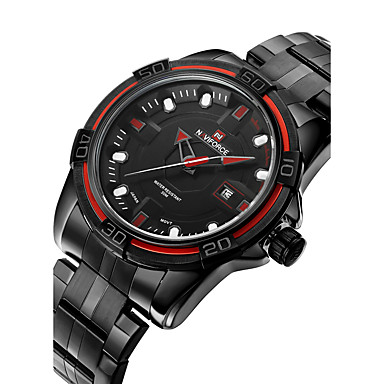 NAVIFORCE 남성용 밀리터리 시계 패션 시계 손목 시계 석영 일본 쿼츠 달력 방수 스테인레스 스틸 밴드 멋진 블랙