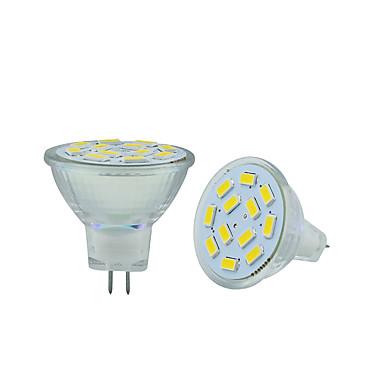 2.5W GU4(MR11) LED Bi-pin 조명 MR11 12 LED가 SMD 5730 장식 따뜻한 화이트 차가운 화이트 250-300lm 3000-3500/6000-6500K DC 12V