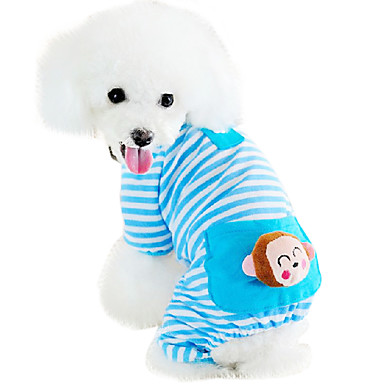 cheap Dog Clothing & Accessories-Cat Dog Jumpsuit Pajamas Dog Clothes Cartoon Yellow Blue Pink Cotton Costume For Husky Labrador Golden Retriever Spring &  Fall Winter Men's Women's Casual / Daily
